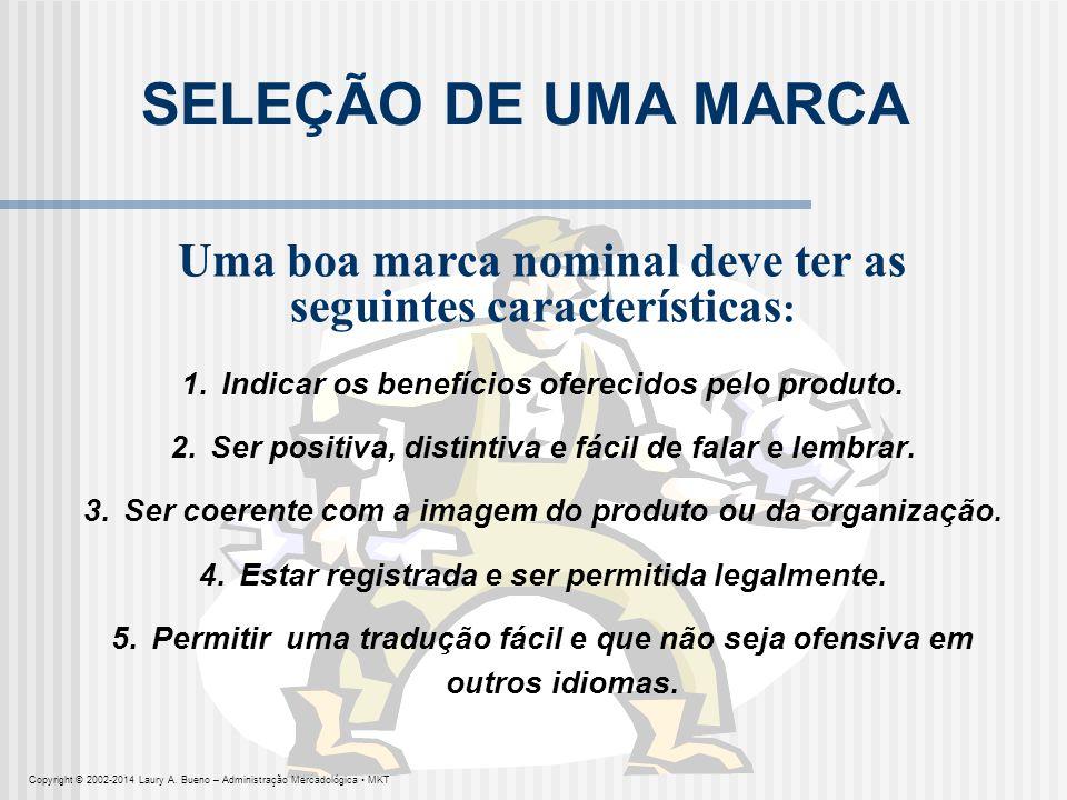 SELEÇÃO DE UMA MARCA Uma boa marca nominal deve ter as seguintes características: 1. Indicar os benefícios oferecidos pelo produto.