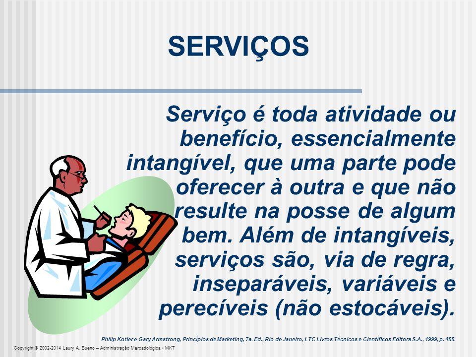 SERVIÇOS Serviço é toda atividade ou benefício, essencialmente intangível, que uma parte pode oferecer à outra e que não.