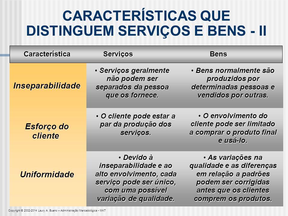 CARACTERÍSTICAS QUE DISTINGUEM SERVIÇOS E BENS - II