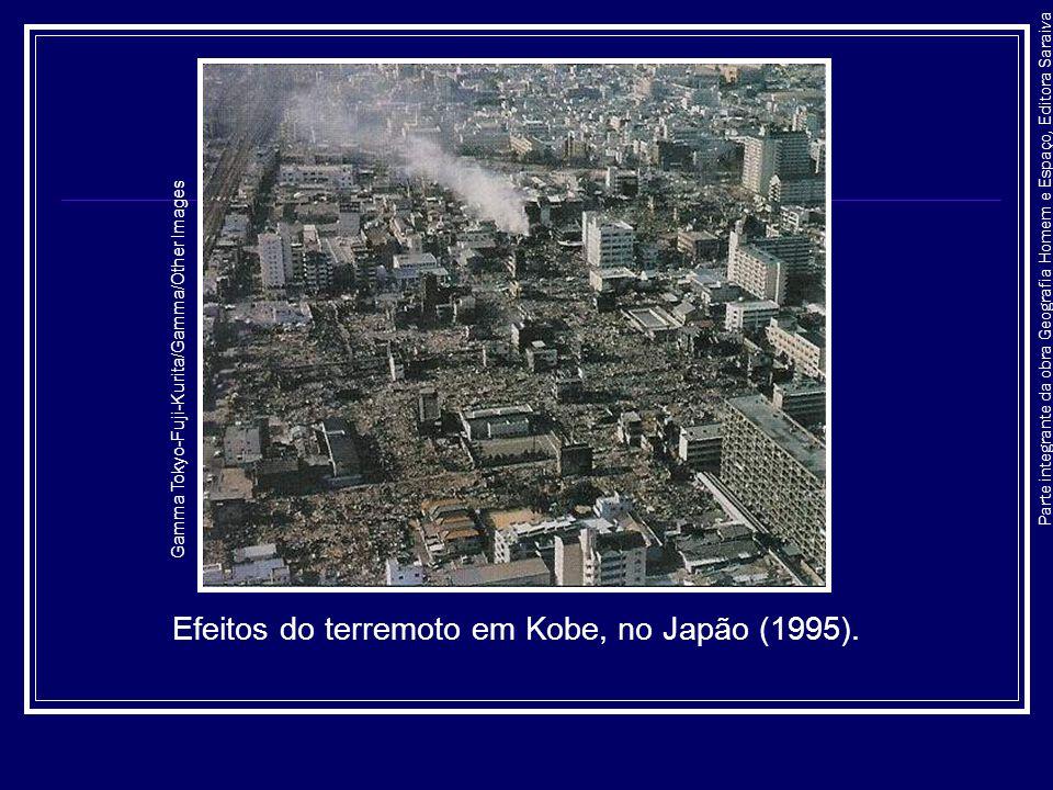 Efeitos do terremoto em Kobe, no Japão (1995).