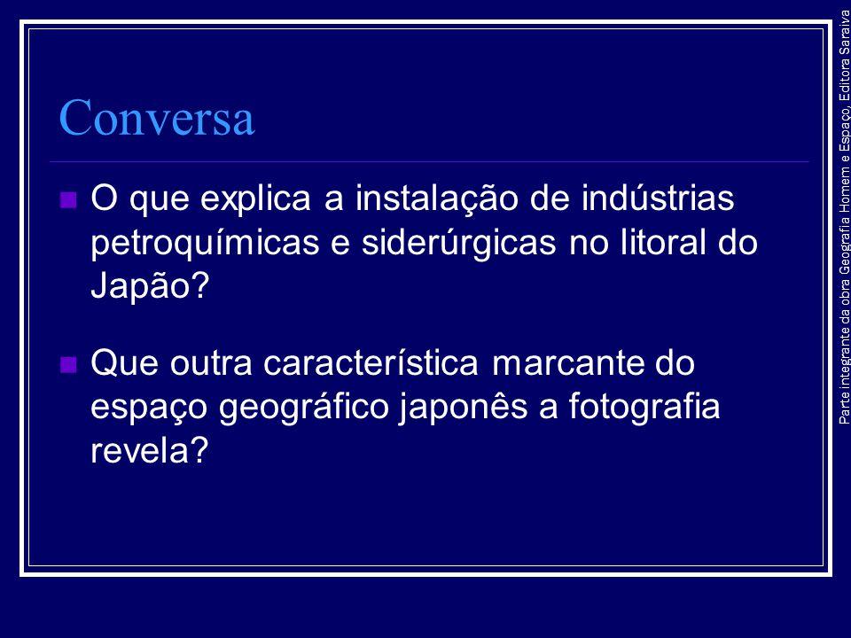 Conversa O que explica a instalação de indústrias petroquímicas e siderúrgicas no litoral do Japão