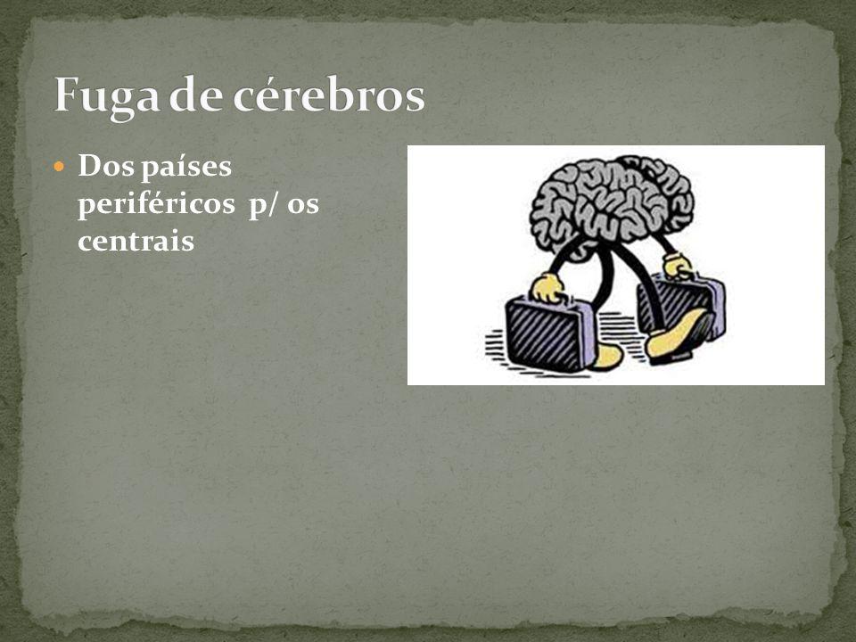 Fuga de cérebros Dos países periféricos p/ os centrais