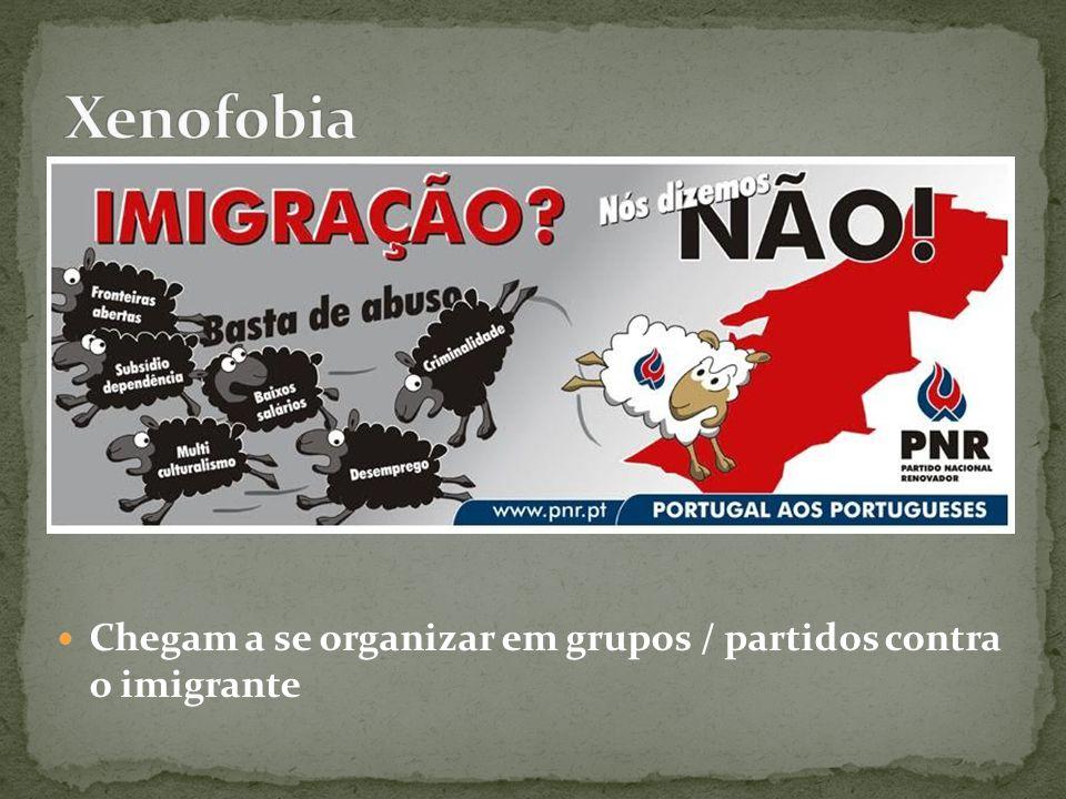 Xenofobia Chegam a se organizar em grupos / partidos contra o imigrante