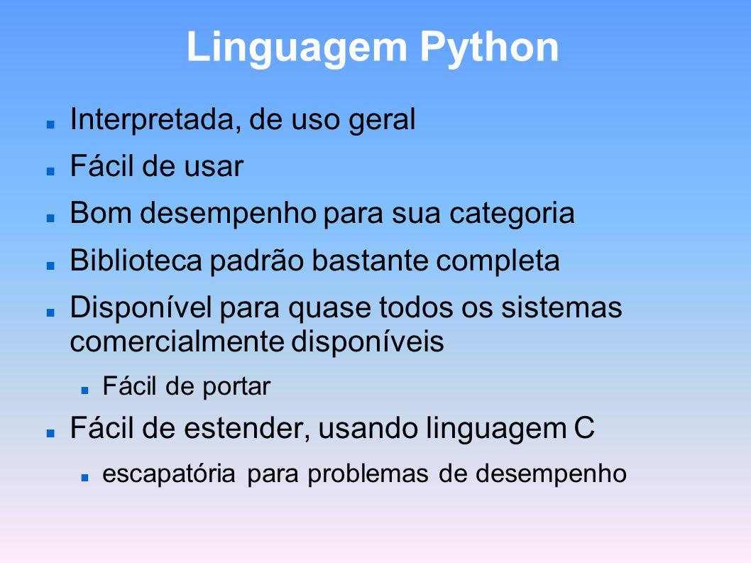 Linguagem Python Interpretada, de uso geral Fácil de usar
