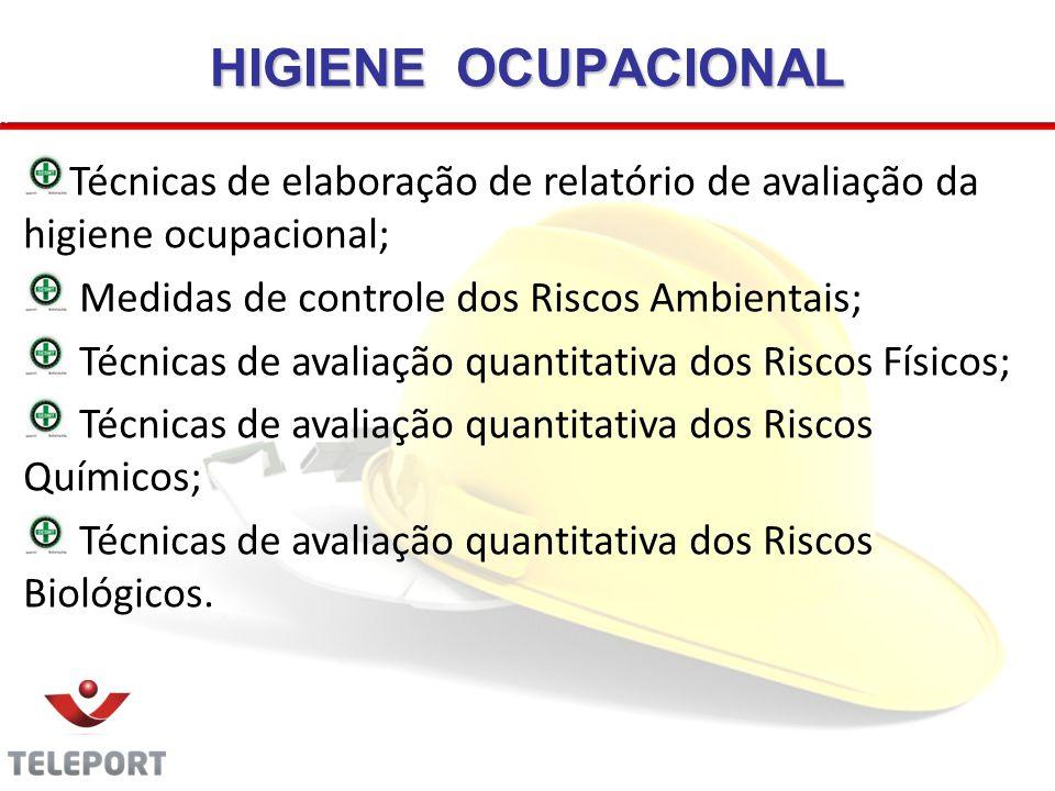 HIGIENE OCUPACIONAL Técnicas de elaboração de relatório de avaliação da higiene ocupacional; Medidas de controle dos Riscos Ambientais;