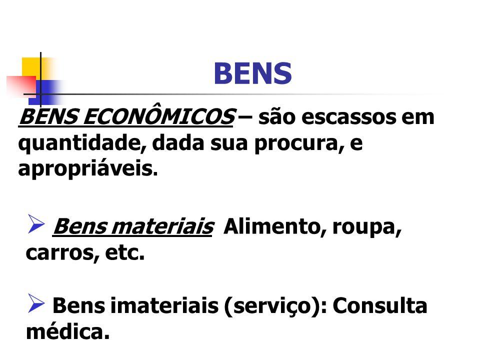 BENS BENS ECONÔMICOS – são escassos em quantidade, dada sua procura, e apropriáveis. Bens materiais Alimento, roupa, carros, etc.