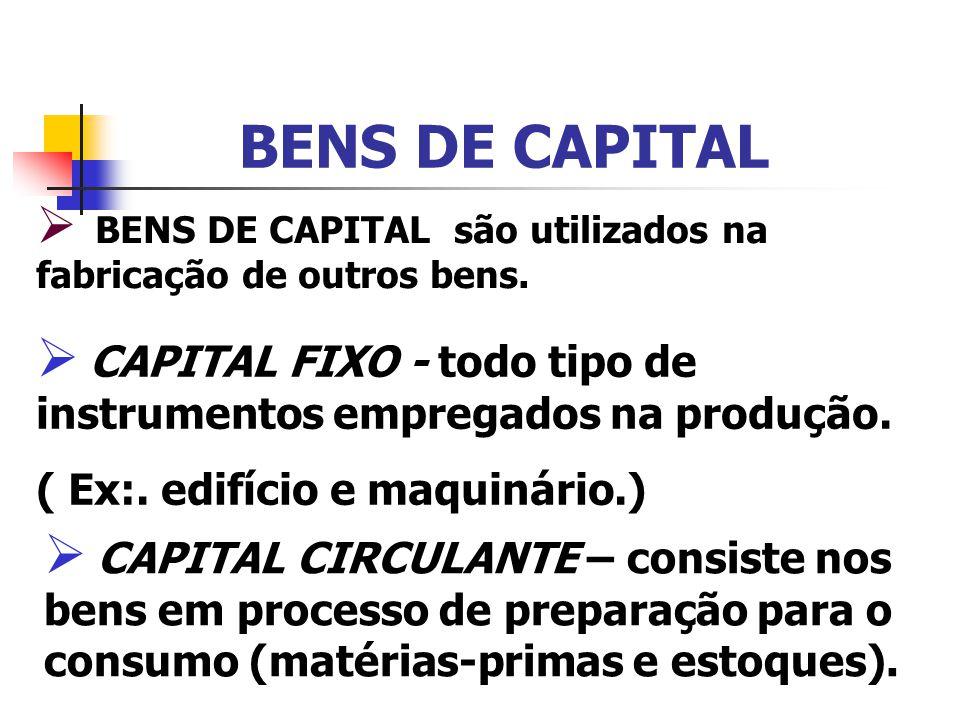 BENS DE CAPITAL BENS DE CAPITAL são utilizados na fabricação de outros bens. CAPITAL FIXO - todo tipo de instrumentos empregados na produção.