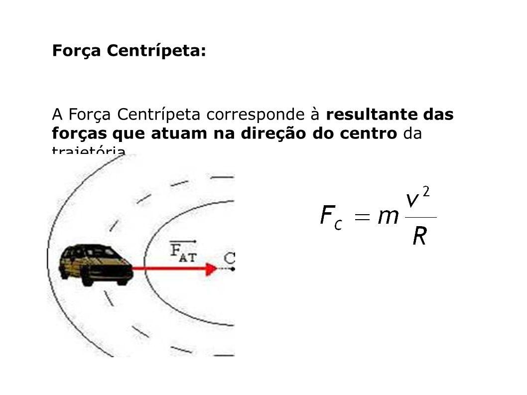 Força Centrípeta: A Força Centrípeta corresponde à resultante das forças que atuam na direção do centro da trajetória.