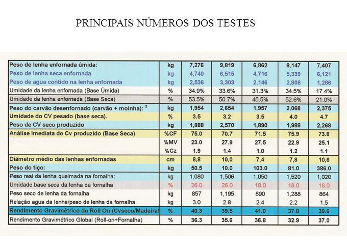 PRINCIPAIS NÚMEROS DOS TESTES