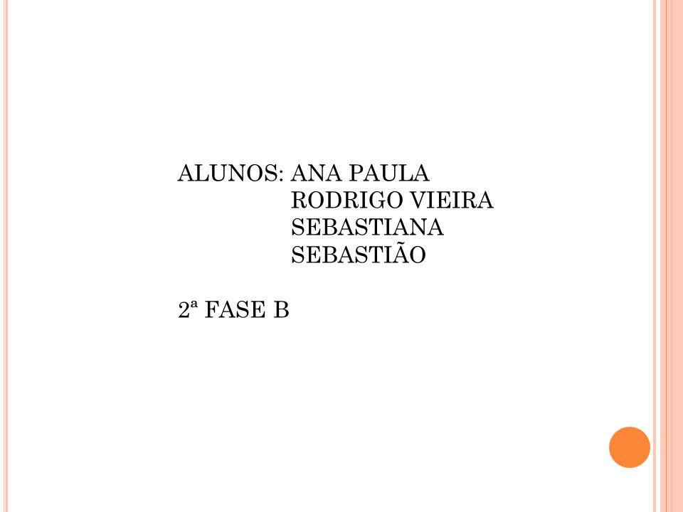 ALUNOS: ANA PAULA RODRIGO VIEIRA SEBASTIANA SEBASTIÃO 2ª FASE B
