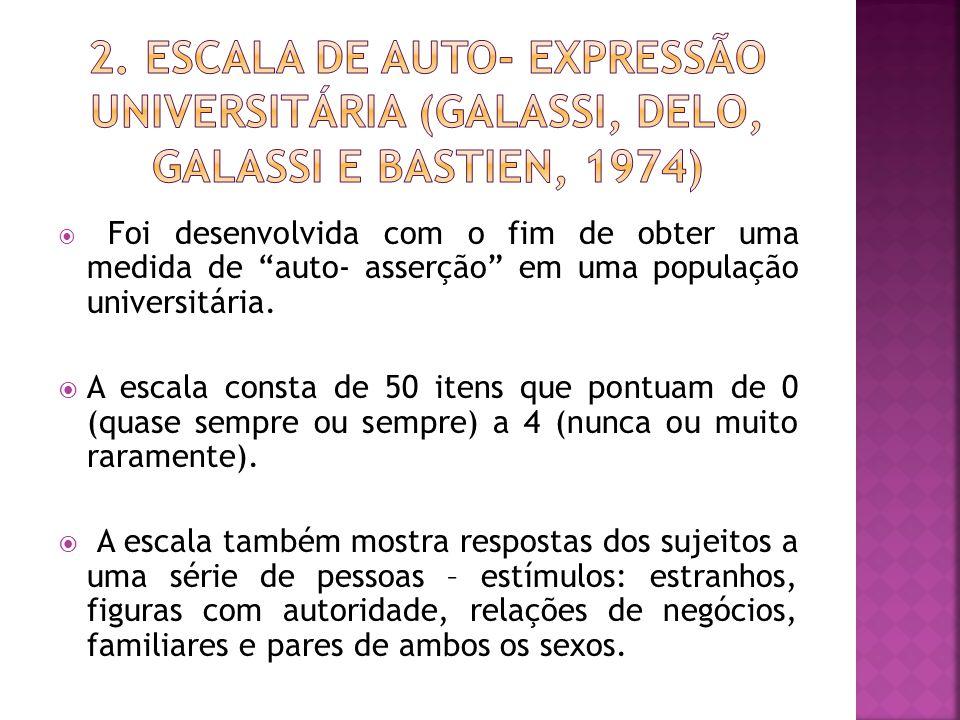 2. Escala de Auto- expressão Universitária (Galassi, Delo, Galassi e Bastien, 1974)