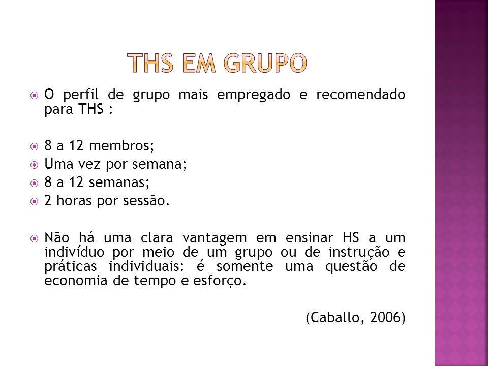 THS em grupo O perfil de grupo mais empregado e recomendado para THS :