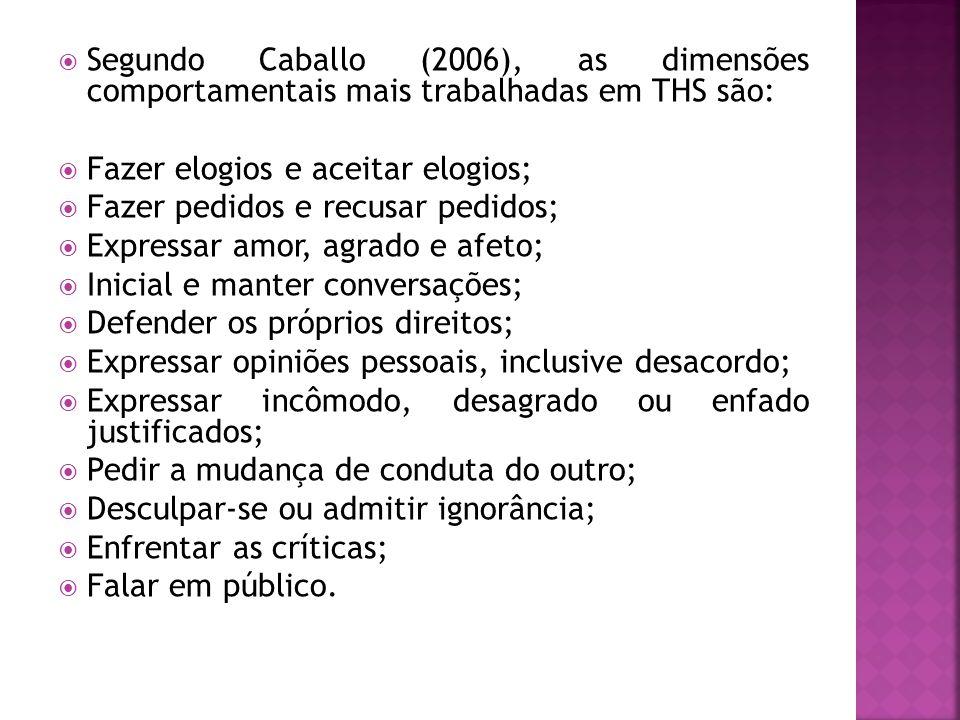 Segundo Caballo (2006), as dimensões comportamentais mais trabalhadas em THS são: