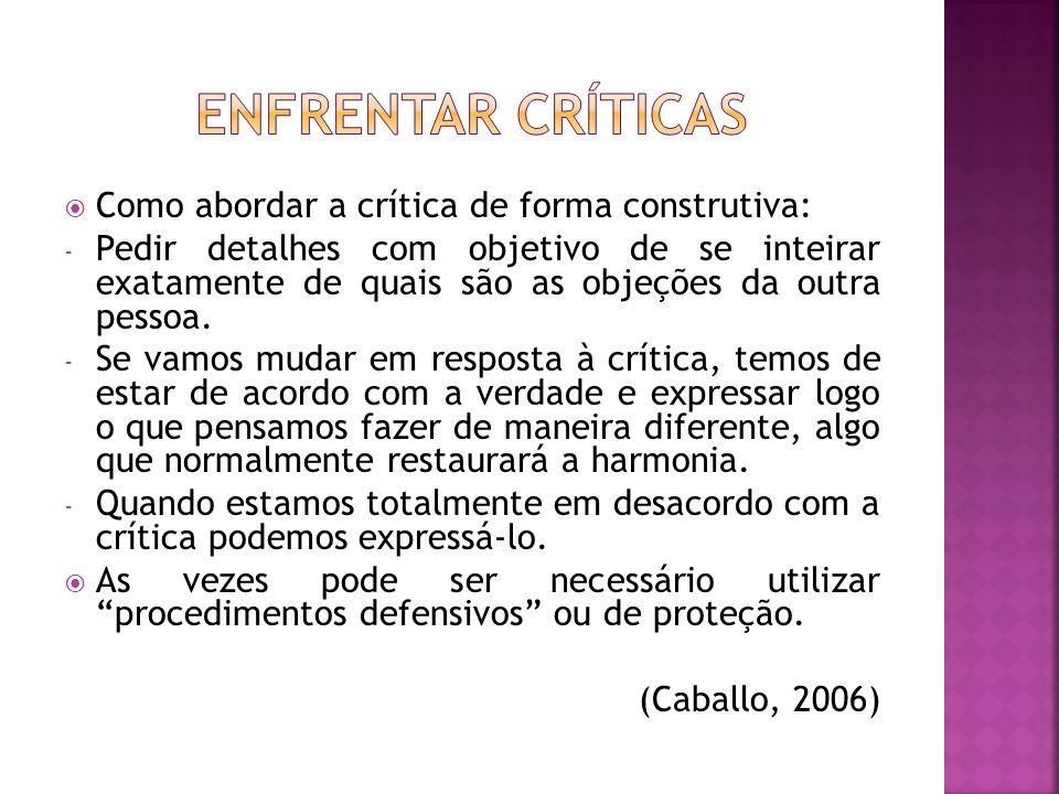 Enfrentar críticas Como abordar a crítica de forma construtiva: