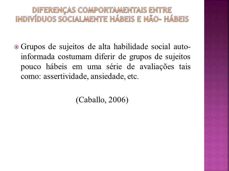 DIFERENÇAS COMPORTAMENTAIS ENTRE INDIVÍDUOS SOCIALMENTE HÁBEIS E NÃO- HÁBEIS