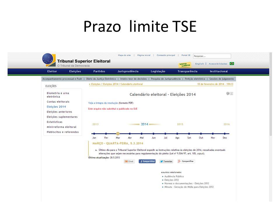 Prazo limite TSE