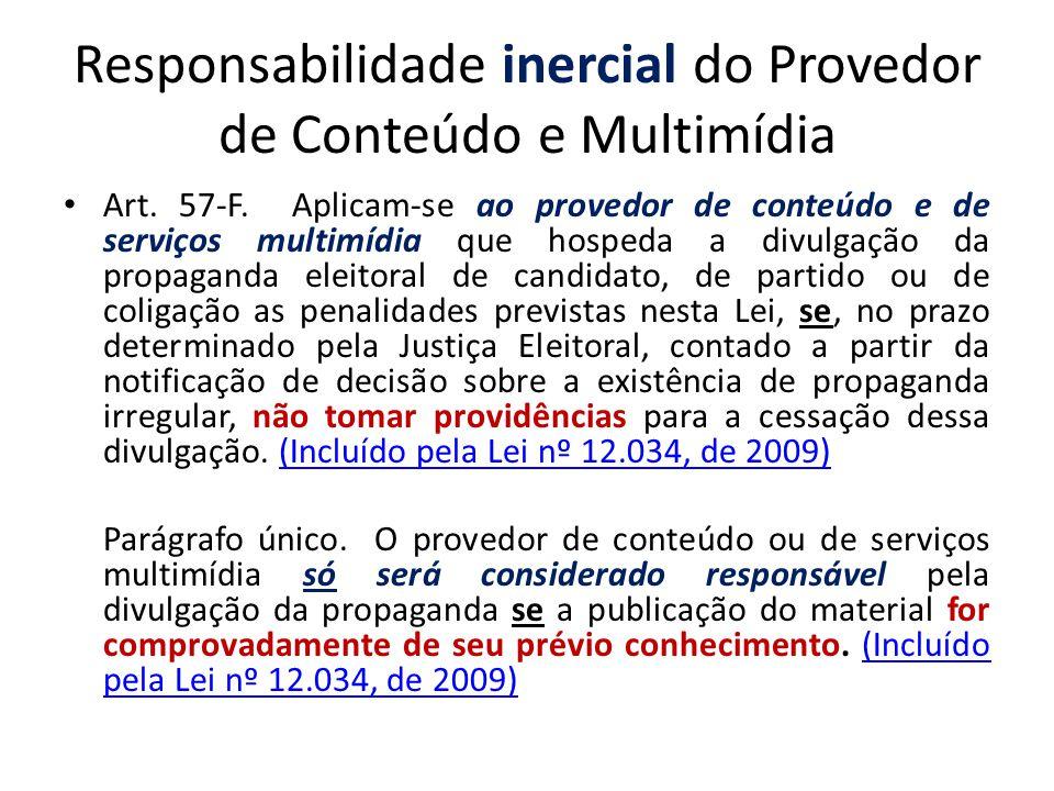Responsabilidade inercial do Provedor de Conteúdo e Multimídia