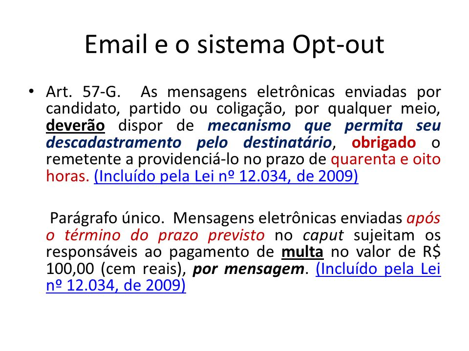 Email e o sistema Opt-out