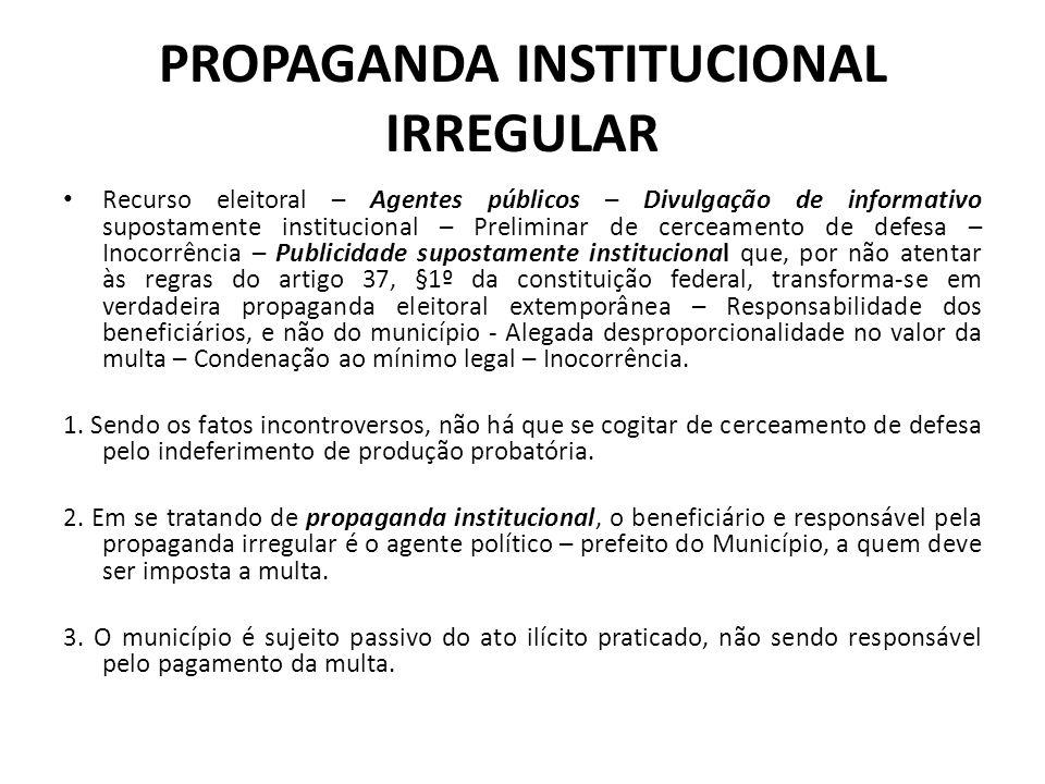 PROPAGANDA INSTITUCIONAL IRREGULAR