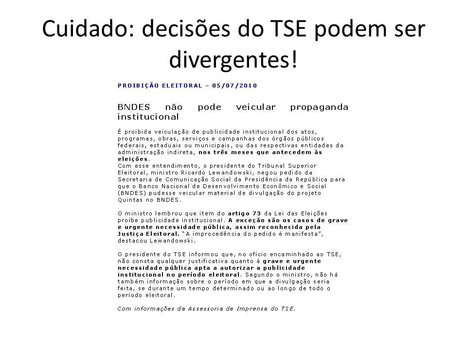 Cuidado: decisões do TSE podem ser divergentes!
