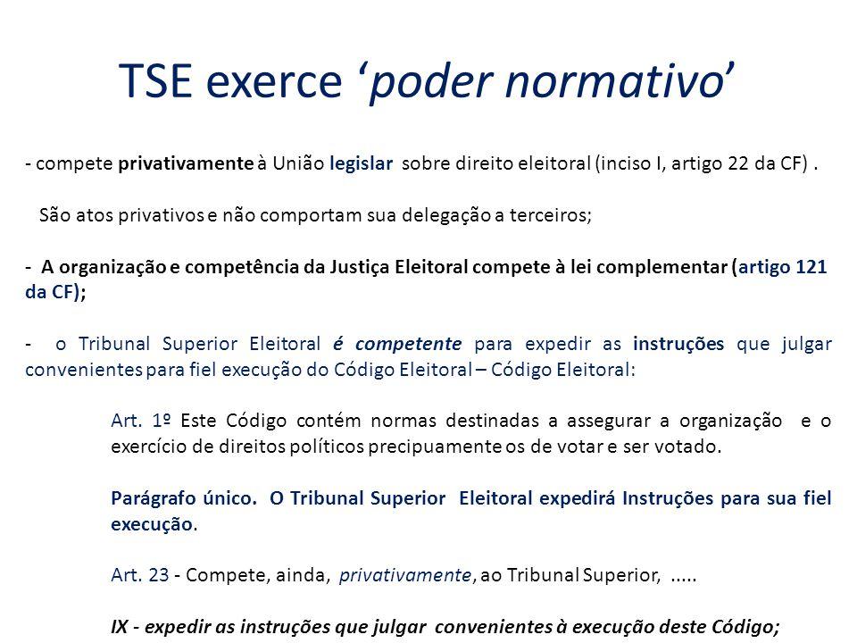 TSE exerce 'poder normativo'