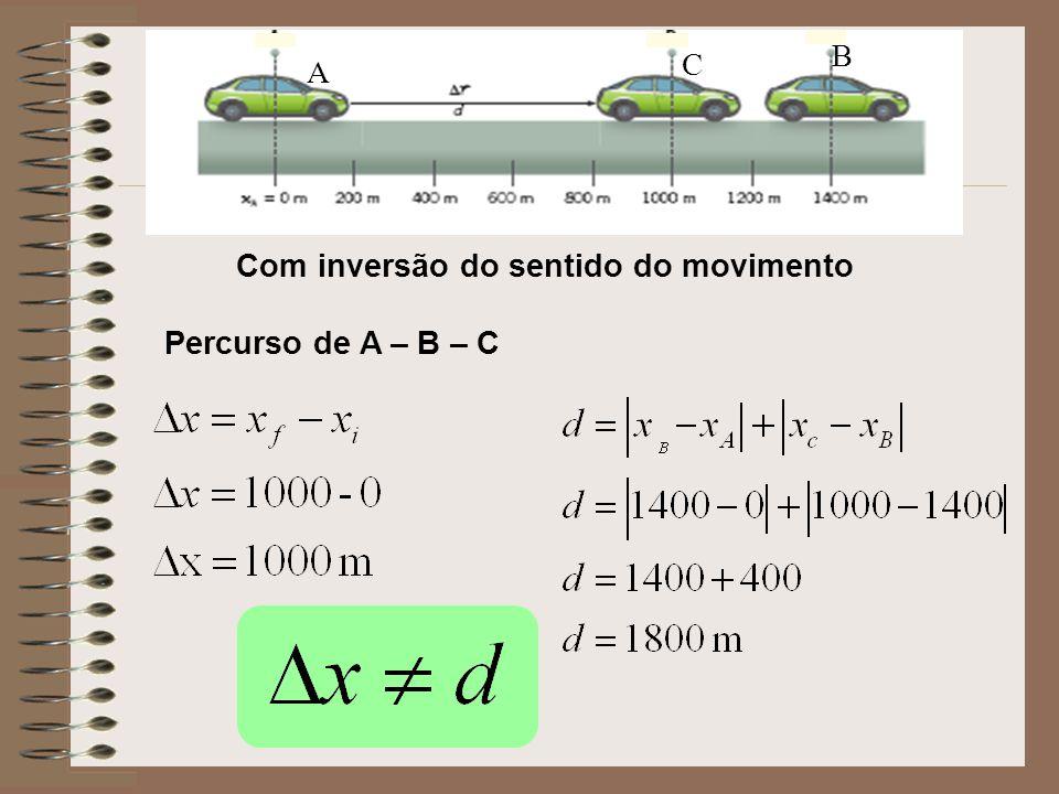 B C A Com inversão do sentido do movimento Percurso de A – B – C