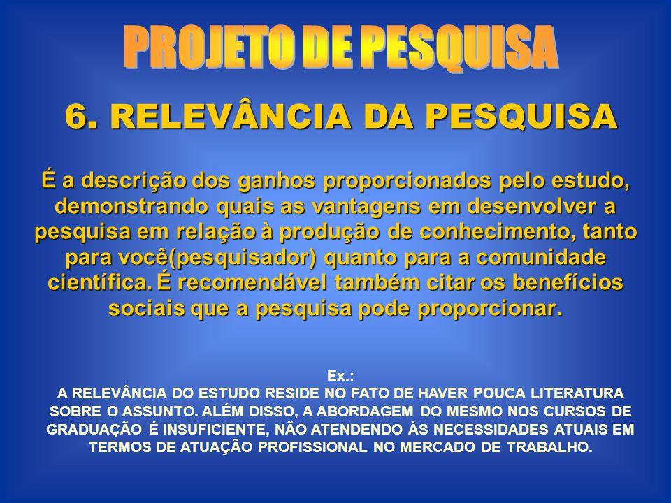6. RELEVÂNCIA DA PESQUISA