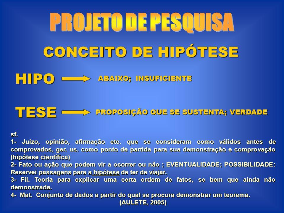PROJETO DE PESQUISA CONCEITO DE HIPÓTESE HIPO TESE