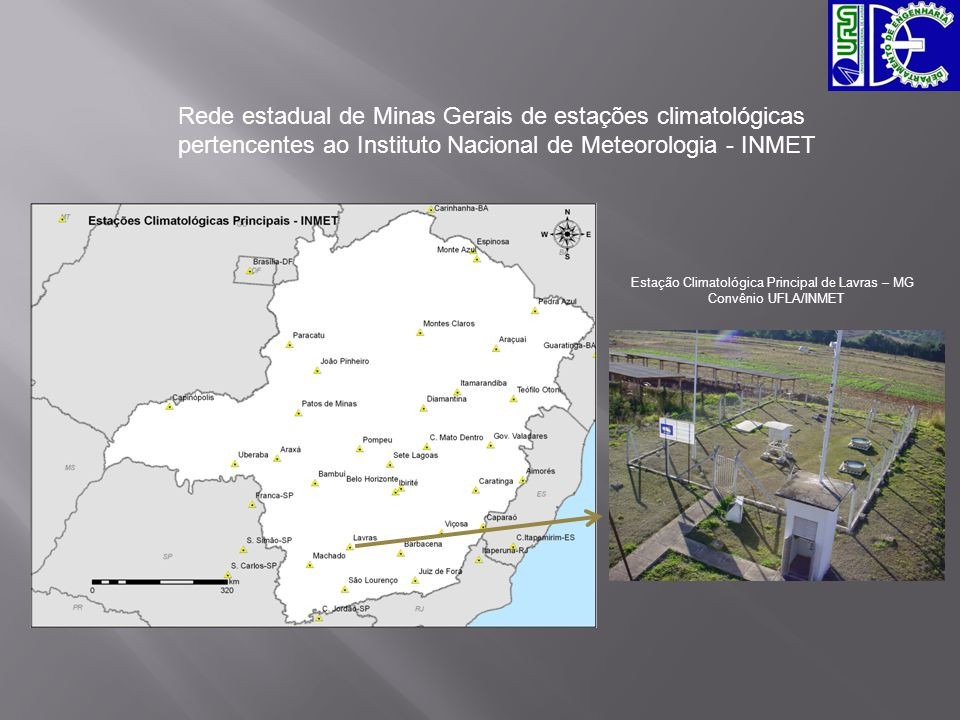 Rede estadual de Minas Gerais de estações climatológicas pertencentes ao Instituto Nacional de Meteorologia - INMET