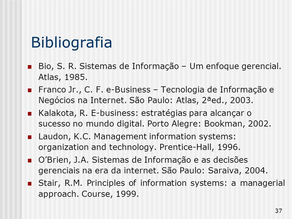 Bibliografia Bio, S. R. Sistemas de Informação – Um enfoque gerencial. Atlas, 1985.