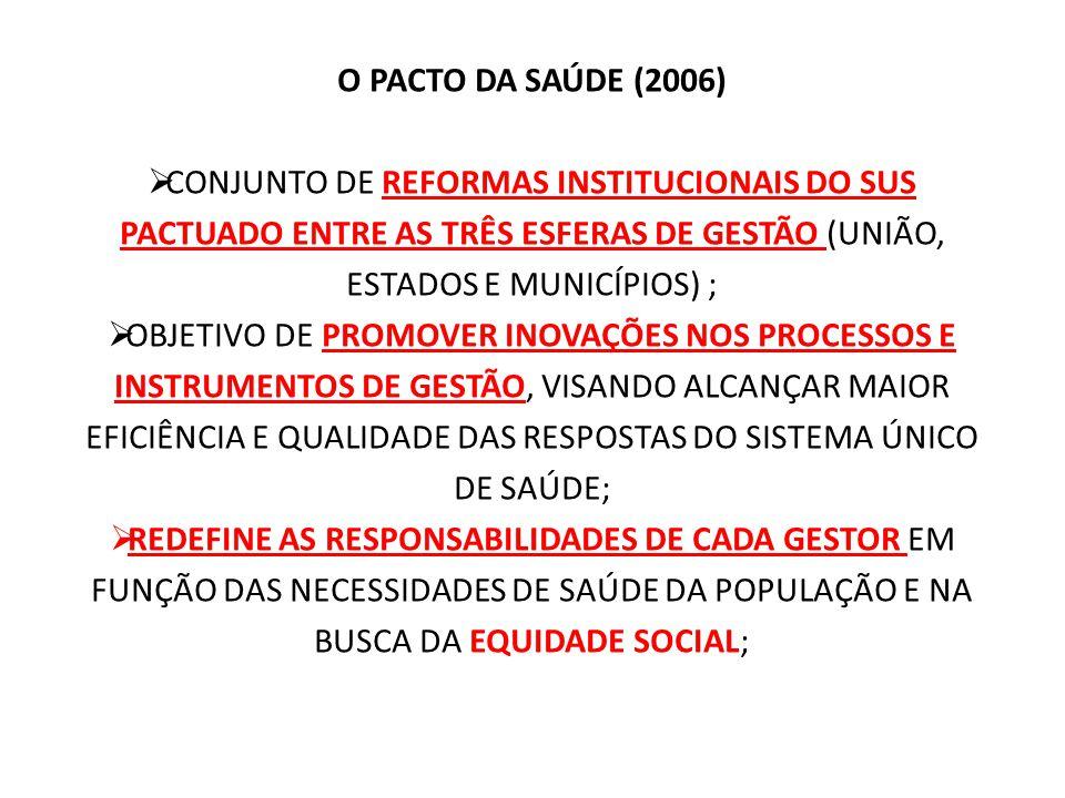O PACTO DA SAÚDE (2006) CONJUNTO DE REFORMAS INSTITUCIONAIS DO SUS PACTUADO ENTRE AS TRÊS ESFERAS DE GESTÃO (UNIÃO, ESTADOS E MUNICÍPIOS) ;