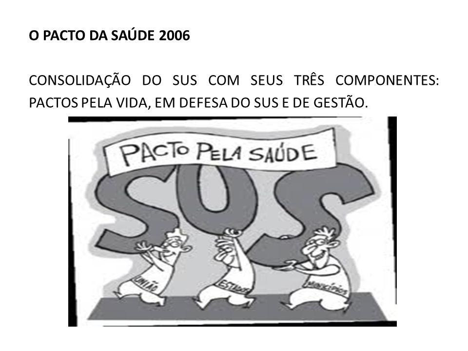 O PACTO DA SAÚDE 2006 CONSOLIDAÇÃO DO SUS COM SEUS TRÊS COMPONENTES: PACTOS PELA VIDA, EM DEFESA DO SUS E DE GESTÃO.