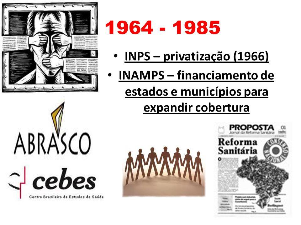 INAMPS – financiamento de estados e municípios para expandir cobertura