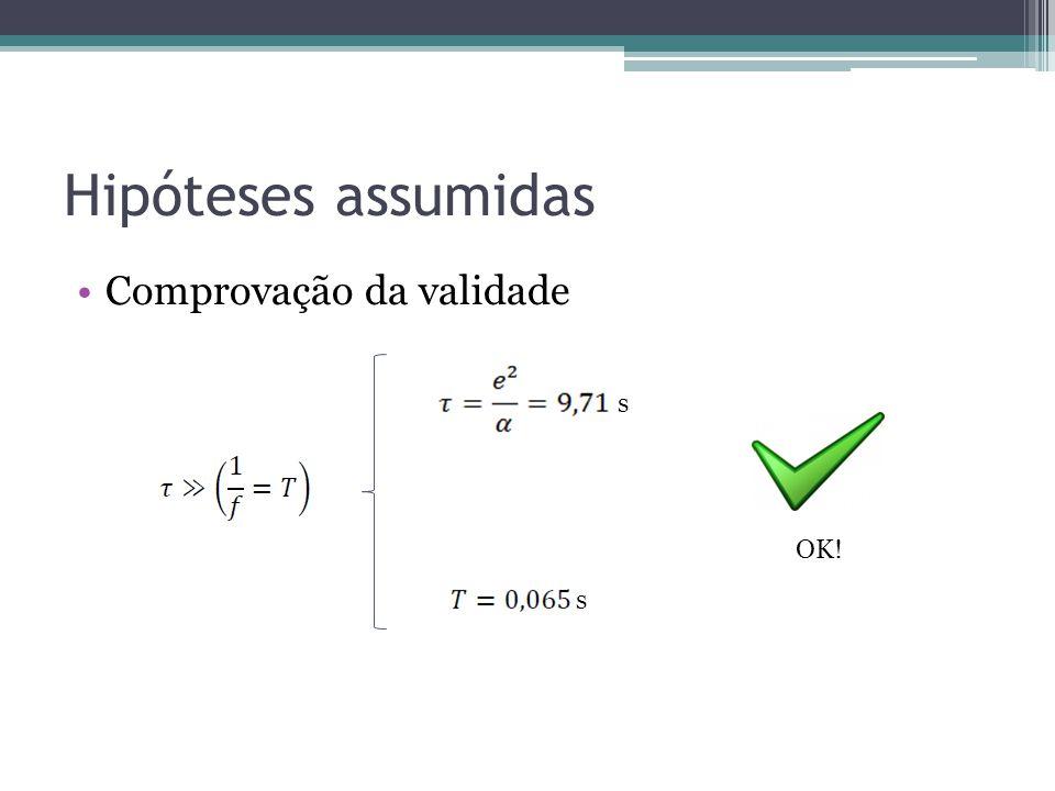 Hipóteses assumidas Comprovação da validade s OK! s