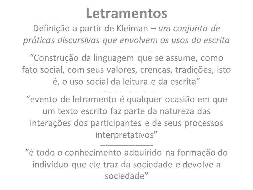 Letramentos Definição a partir de Kleiman – um conjunto de práticas discursivas que envolvem os usos da escrita _____________________ Construção da linguagem que se assume, como fato social, com seus valores, crenças, tradições, isto é, o uso social da leitura e da escrita _____________________ evento de letramento é qualquer ocasião em que um texto escrito faz parte da natureza das interações dos participantes e de seus processos interpretativos _____________________ é todo o conhecimento adquirido na formação do indivíduo que ele traz da sociedade e devolve a sociedade