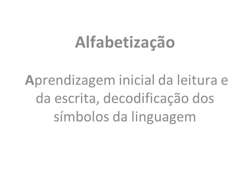 Alfabetização Aprendizagem inicial da leitura e da escrita, decodificação dos símbolos da linguagem