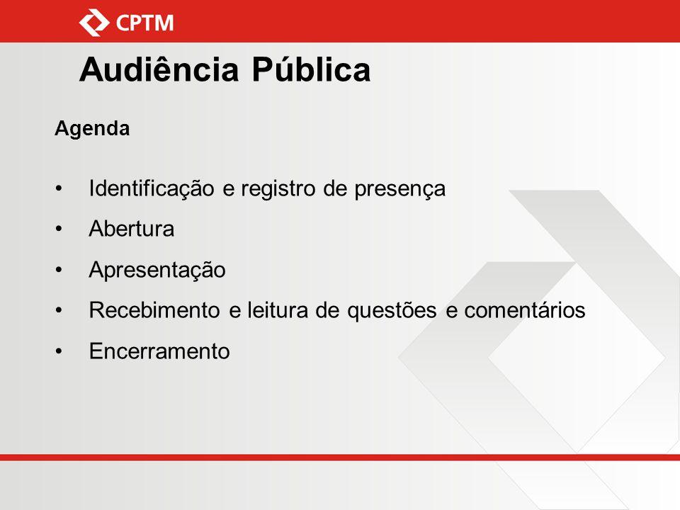 Audiência Pública Identificação e registro de presença Abertura