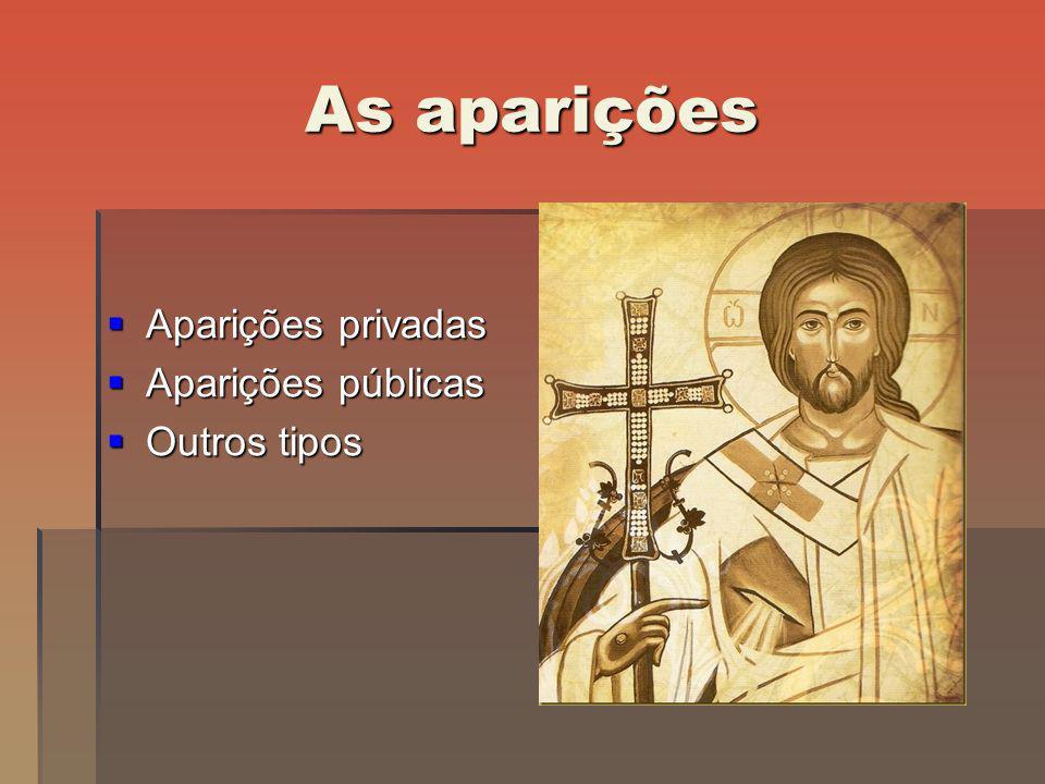 As aparições Aparições privadas Aparições públicas Outros tipos