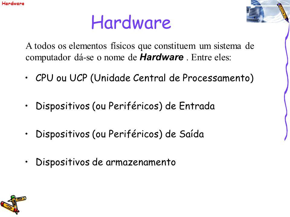 Hardware A todos os elementos físicos que constituem um sistema de