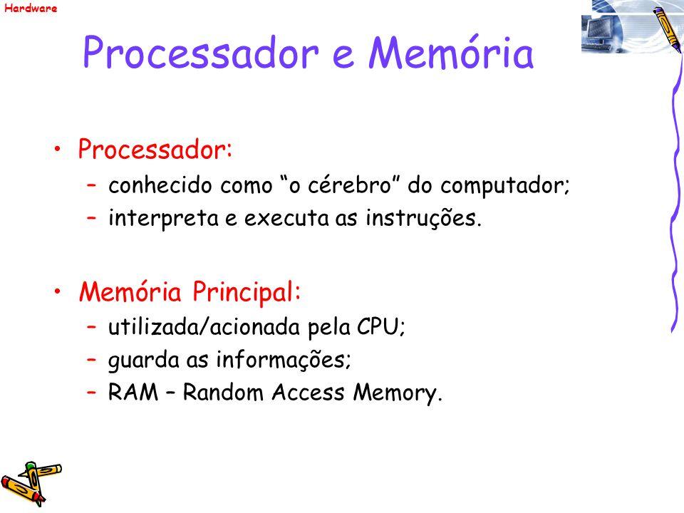 Processador e Memória Processador: Memória Principal: