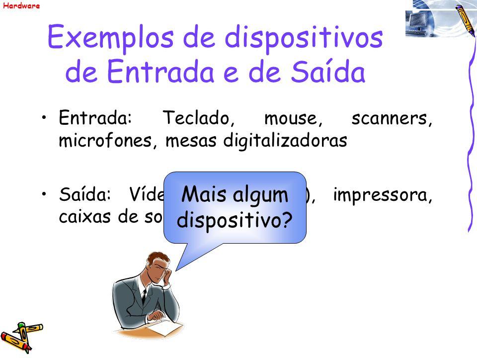 Exemplos de dispositivos de Entrada e de Saída