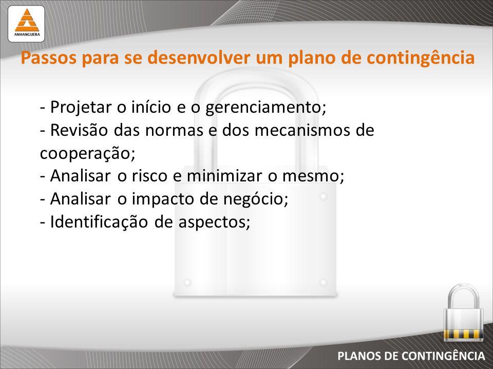 Passos para se desenvolver um plano de contingência