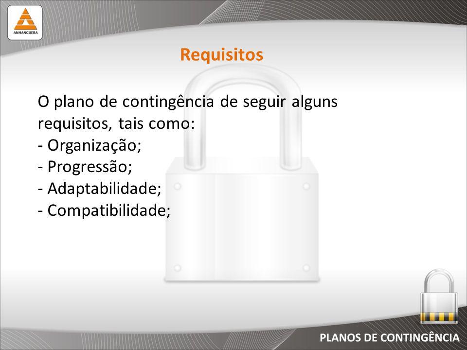 Requisitos O plano de contingência de seguir alguns requisitos, tais como: Organização; Progressão;