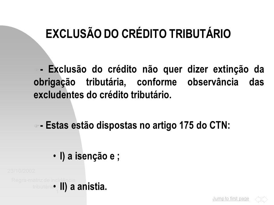 EXCLUSÃO DO CRÉDITO TRIBUTÁRIO