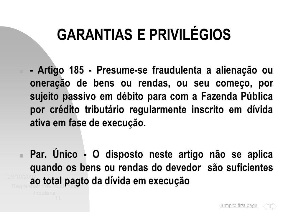 GARANTIAS E PRIVILÉGIOS