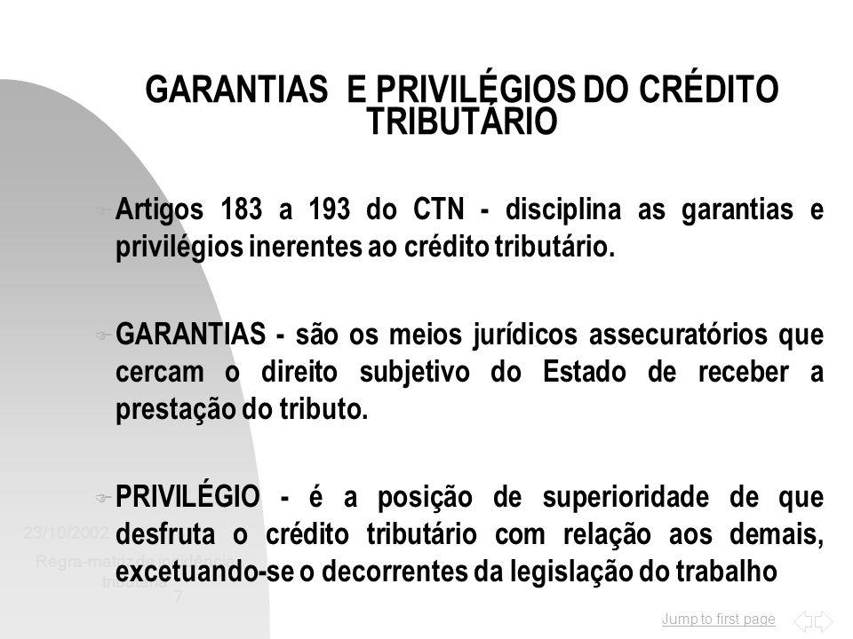 GARANTIAS E PRIVILÉGIOS DO CRÉDITO TRIBUTÁRIO