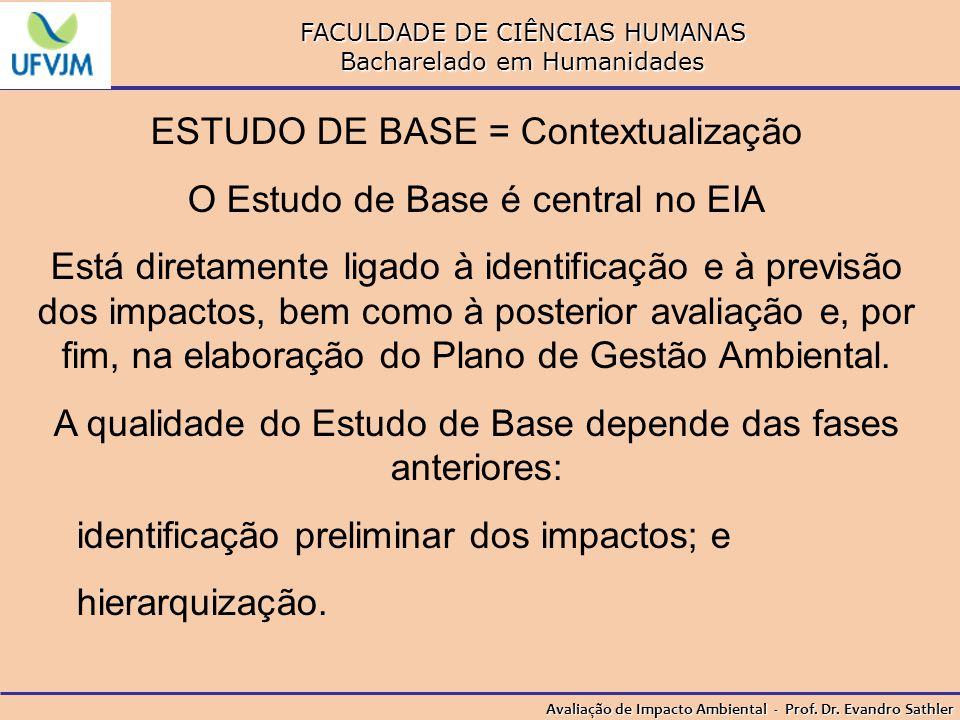 ESTUDO DE BASE = Contextualização O Estudo de Base é central no EIA