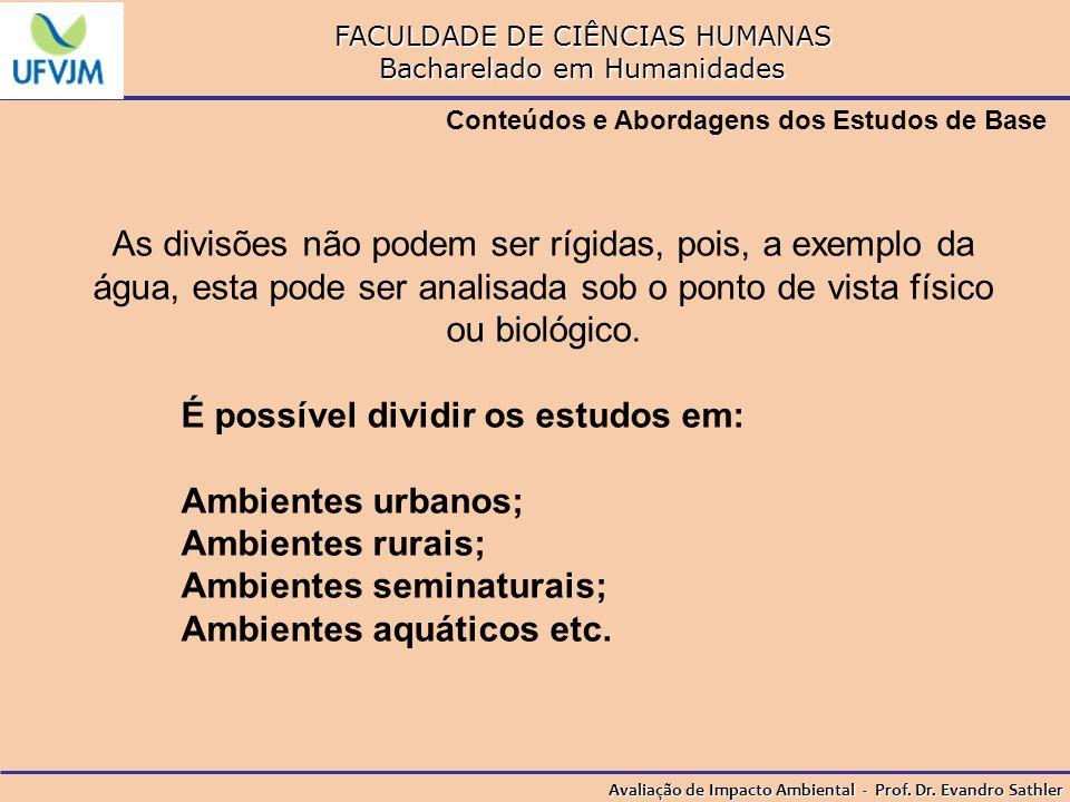 É possível dividir os estudos em: Ambientes urbanos; Ambientes rurais;