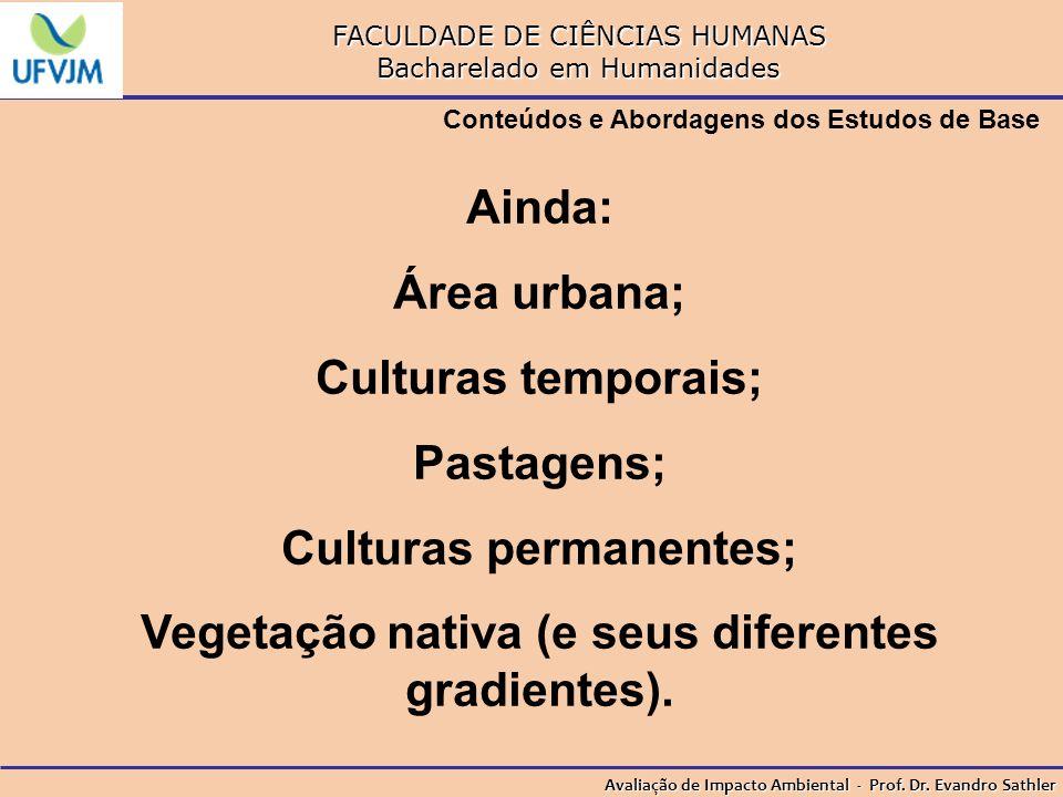 Culturas permanentes; Vegetação nativa (e seus diferentes gradientes).