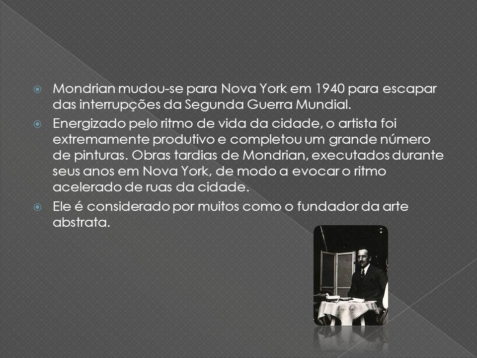 Mondrian mudou-se para Nova York em 1940 para escapar das interrupções da Segunda Guerra Mundial.